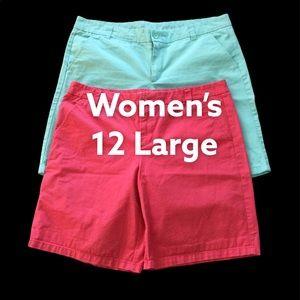 2 Pairs Gap 12 L Shorts Chino Khakis Pink Teal EUC